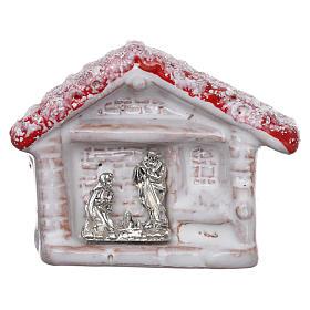 Ímanes de Santos, Nossa Senhora e Papas: Íman casinha corada com Natividade em terracota Deruta