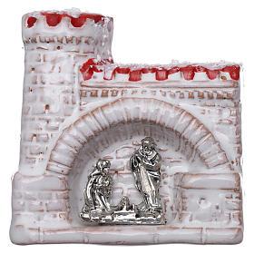 Ímanes de Santos, Nossa Senhora e Papas: Íman em terracota Deruta castelo com Natividade
