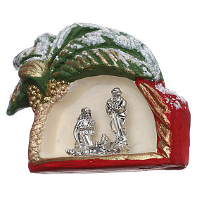 Magnet with palm tree and Nativity Scene in Deruta terracotta s2