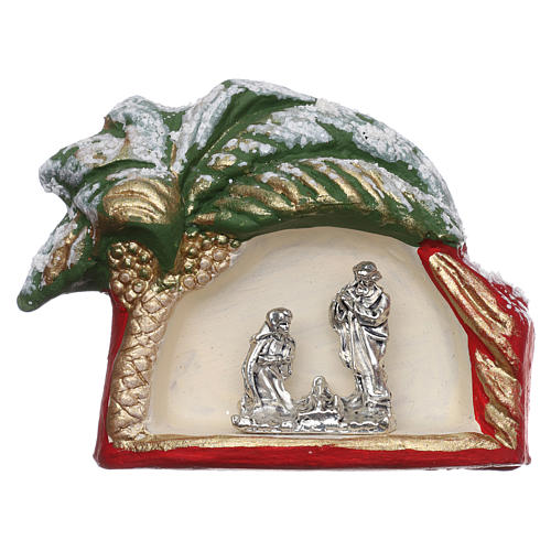 Magnet with palm tree and Nativity Scene in Deruta terracotta 1
