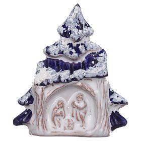 Aimant cabane et sapin de Noël avec Nativité en terre cuite Deruta s1