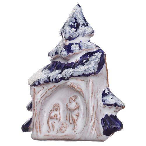 Aimant cabane et sapin de Noël avec Nativité en terre cuite Deruta 2