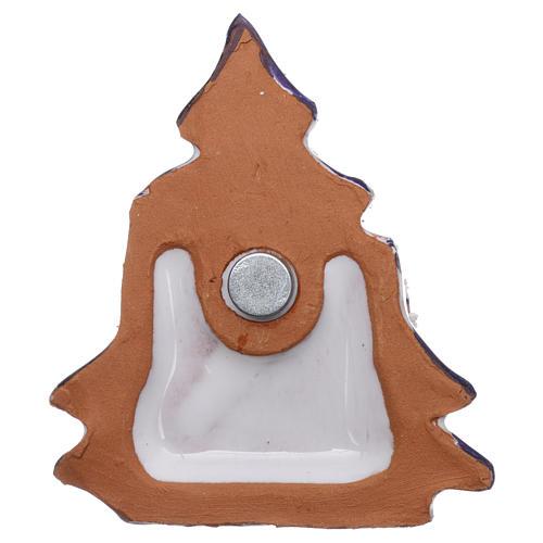 Aimant cabane et sapin de Noël avec Nativité en terre cuite Deruta 3