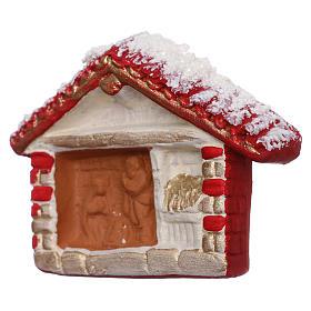 Imán cabaña roja con Natividad de terracota Deruta s2