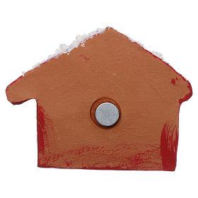 Imán cabaña roja con Natividad de terracota Deruta s3