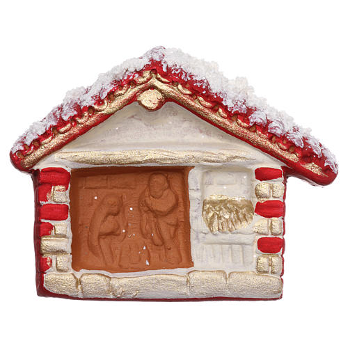 Aimant cabane rouge avec Nativité en terre cuite Deruta 1