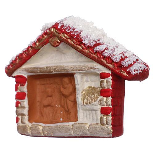 Aimant cabane rouge avec Nativité en terre cuite Deruta 2