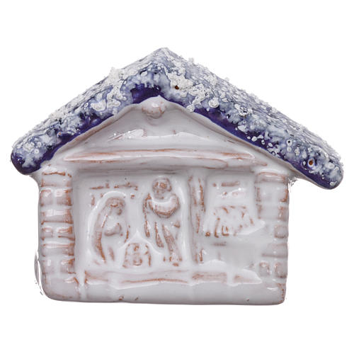 Magnet with hut and Nativity Scene in Deruta Terracotta 1