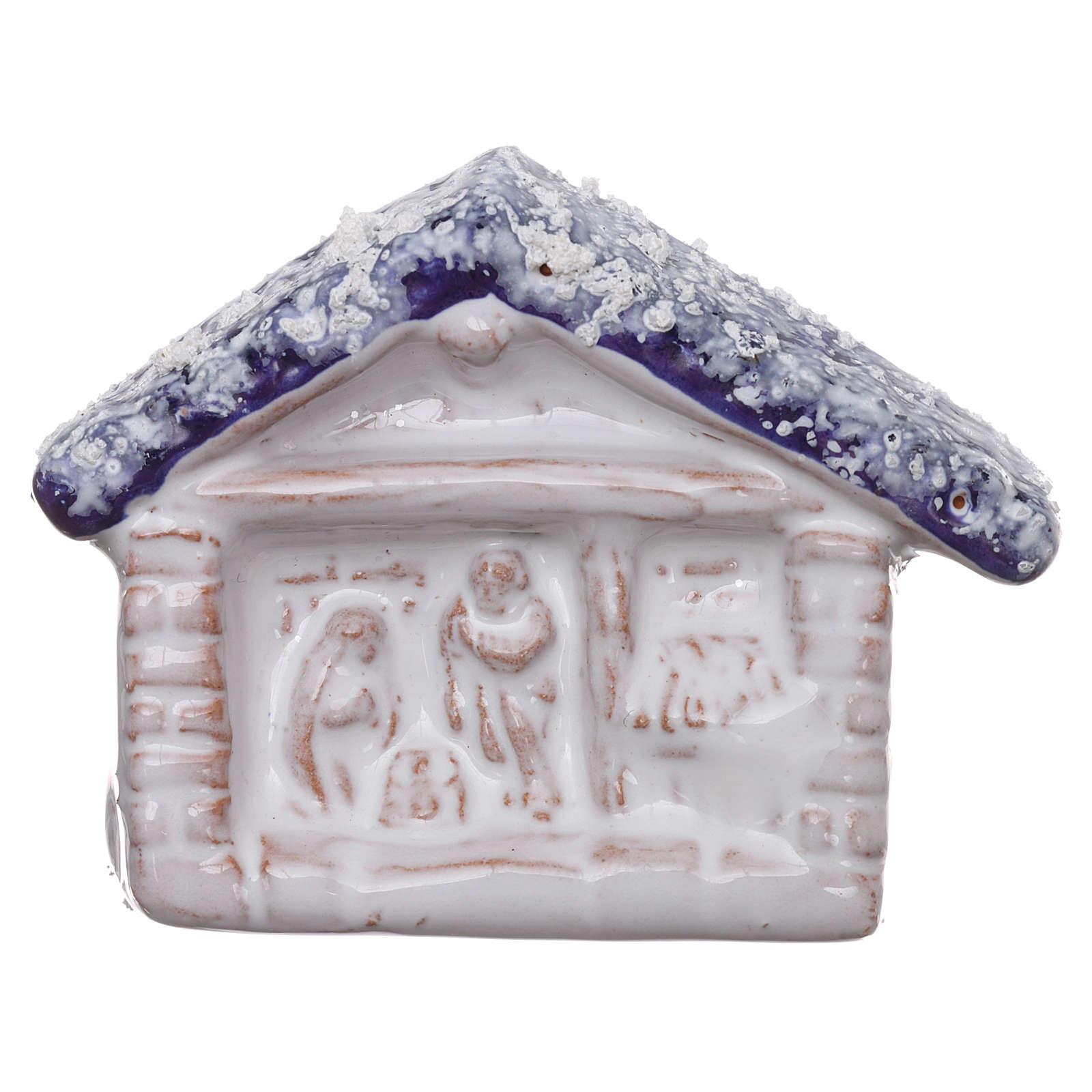 Imán terracota Deruta cabaña con Natividad 3