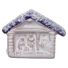Aimant terre cuite Deruta cabane avec Nativité s1