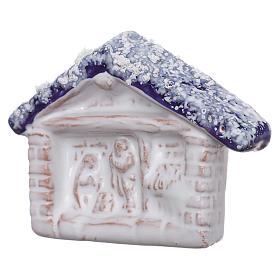 Magnete terracotta Deruta capanna con Natività s2