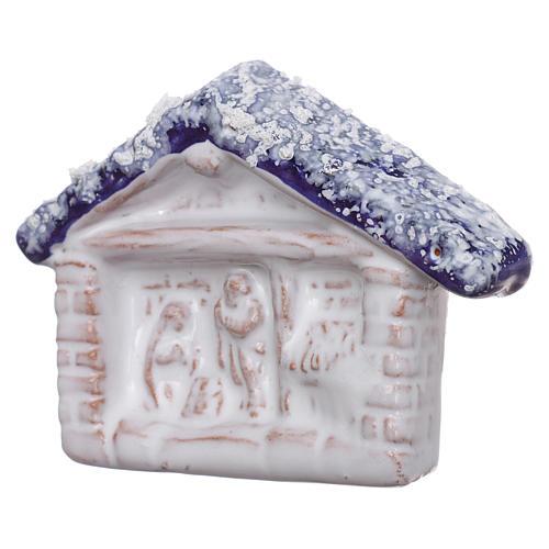 Magnete terracotta Deruta capanna con Natività 2