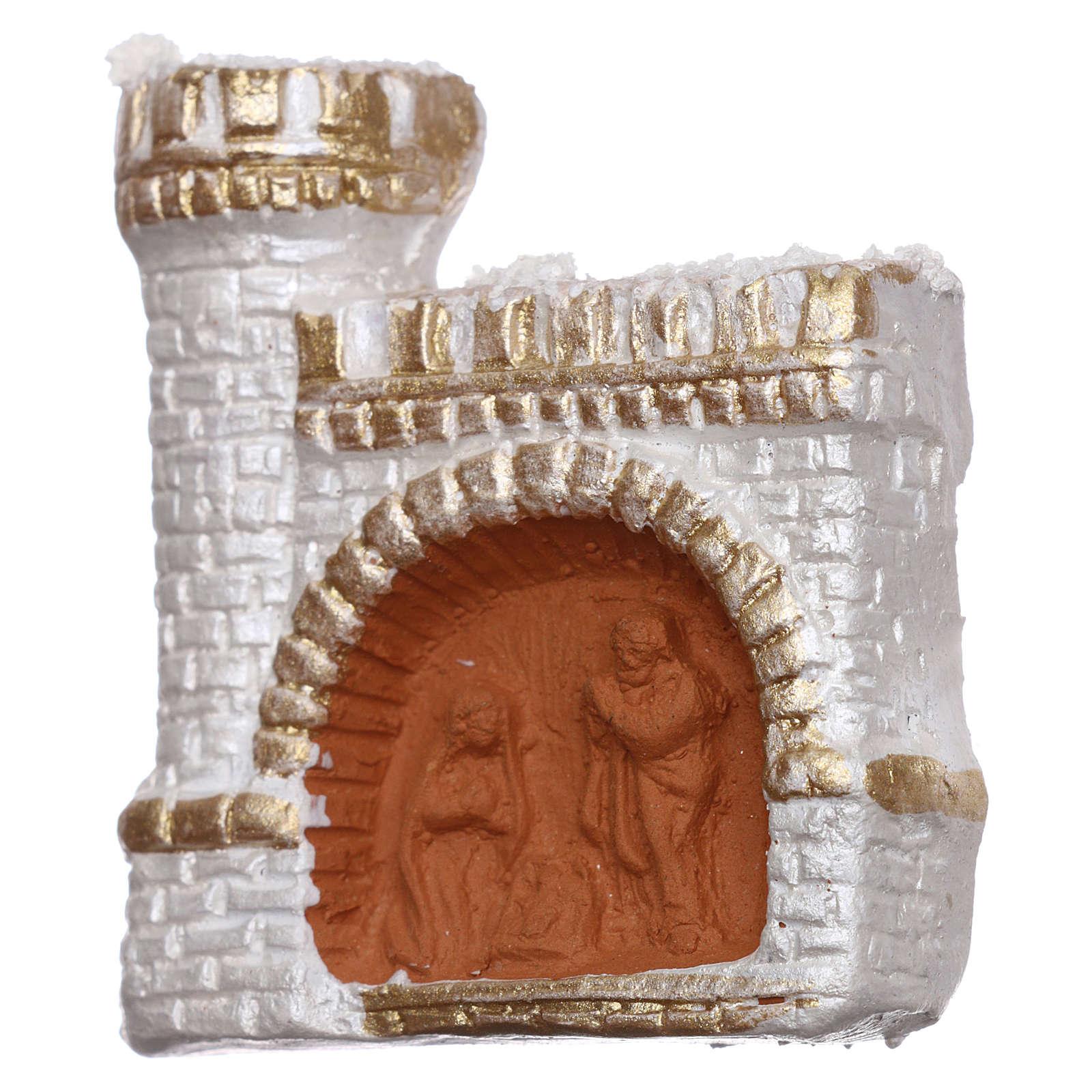 Imán de terracota Deruta con castillo color blanco y oro y Natividad 3