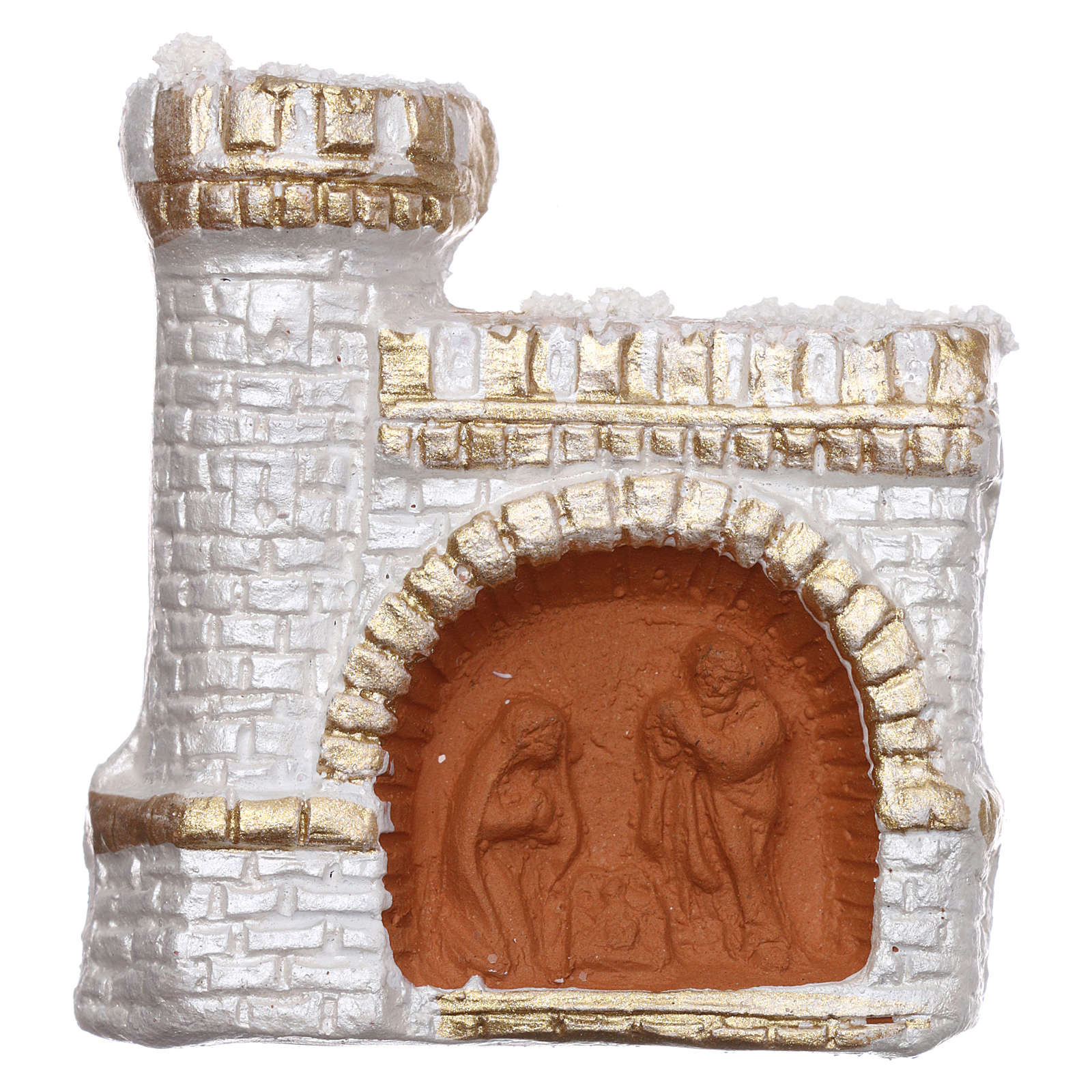 Calamita in terracotta Deruta con castello color bianco e oro e Natività  3