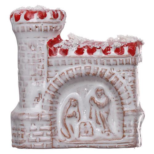 Calamita in terracotta Deruta con castello e Natività color bianco e rosso  1
