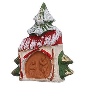 Imán de terracota Árbol nevado con casita y Natividad Deruta s2