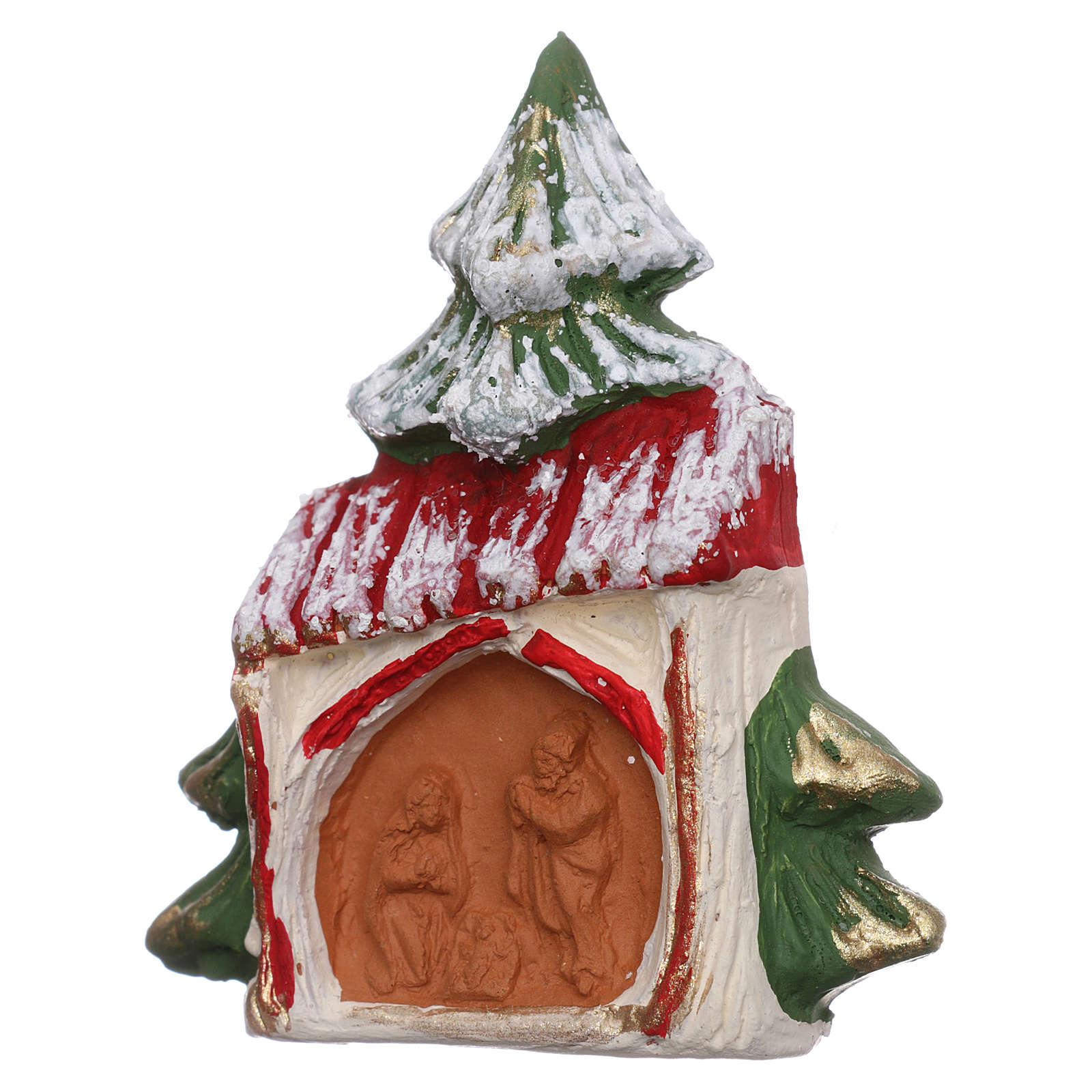 Aimant en terre cuite Arbre enneigé avec maison et Nativité Deruta 3