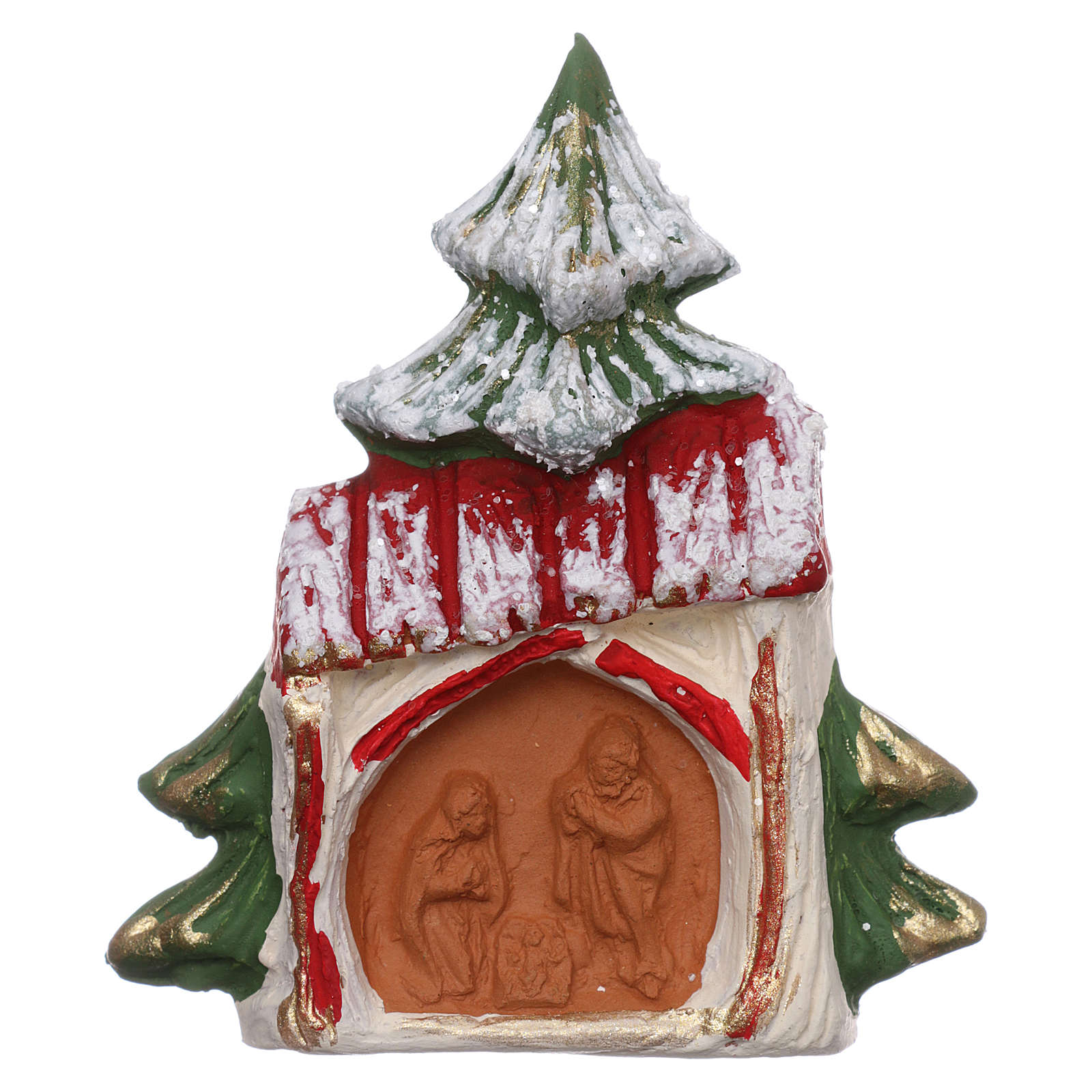 Magnete in terracotta Albero innevato con casetta e Natività Deruta 3