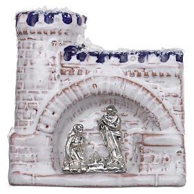 Magnete terracotta Deruta castello  blu e bianco e Natività in metallo s1