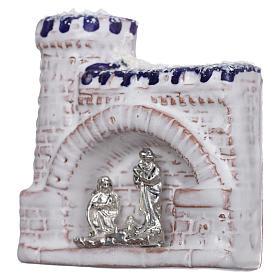 Magnete terracotta Deruta castello  blu e bianco e Natività in metallo s2
