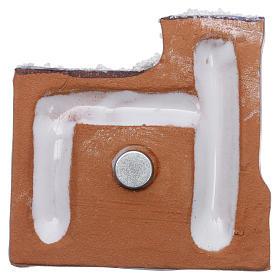Magnete terracotta Deruta castello  blu e bianco e Natività in metallo s3