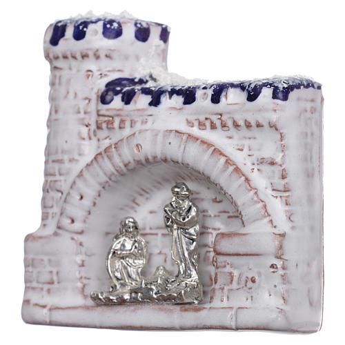 Magnete terracotta Deruta castello  blu e bianco e Natività in metallo 2