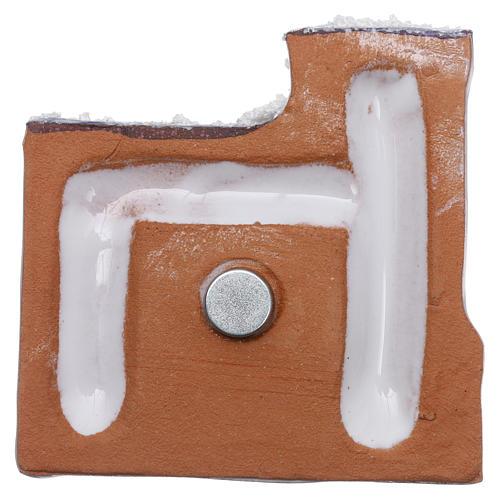 Magnete terracotta Deruta castello  blu e bianco e Natività in metallo 3