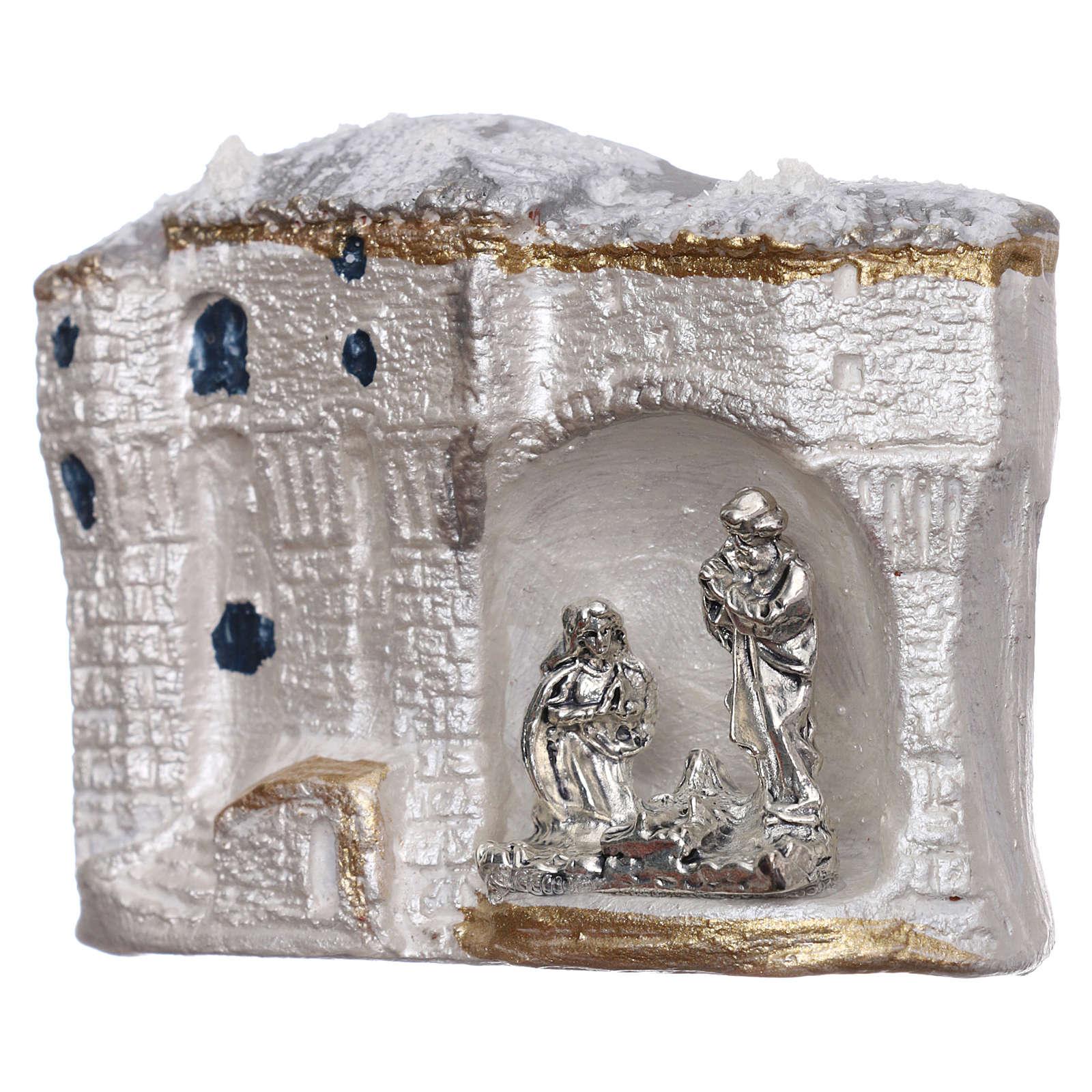 Magnete terracotta Deruta paesaggio bianco con Natività 3