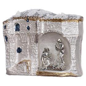 Magnete terracotta Deruta paesaggio bianco con Natività s2