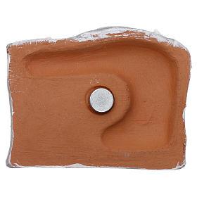 Magnete terracotta Deruta paesaggio bianco con Natività s3