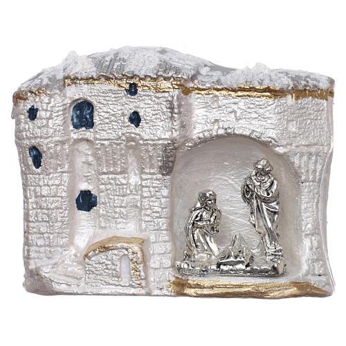 Magnete terracotta Deruta paesaggio bianco con Natività 1