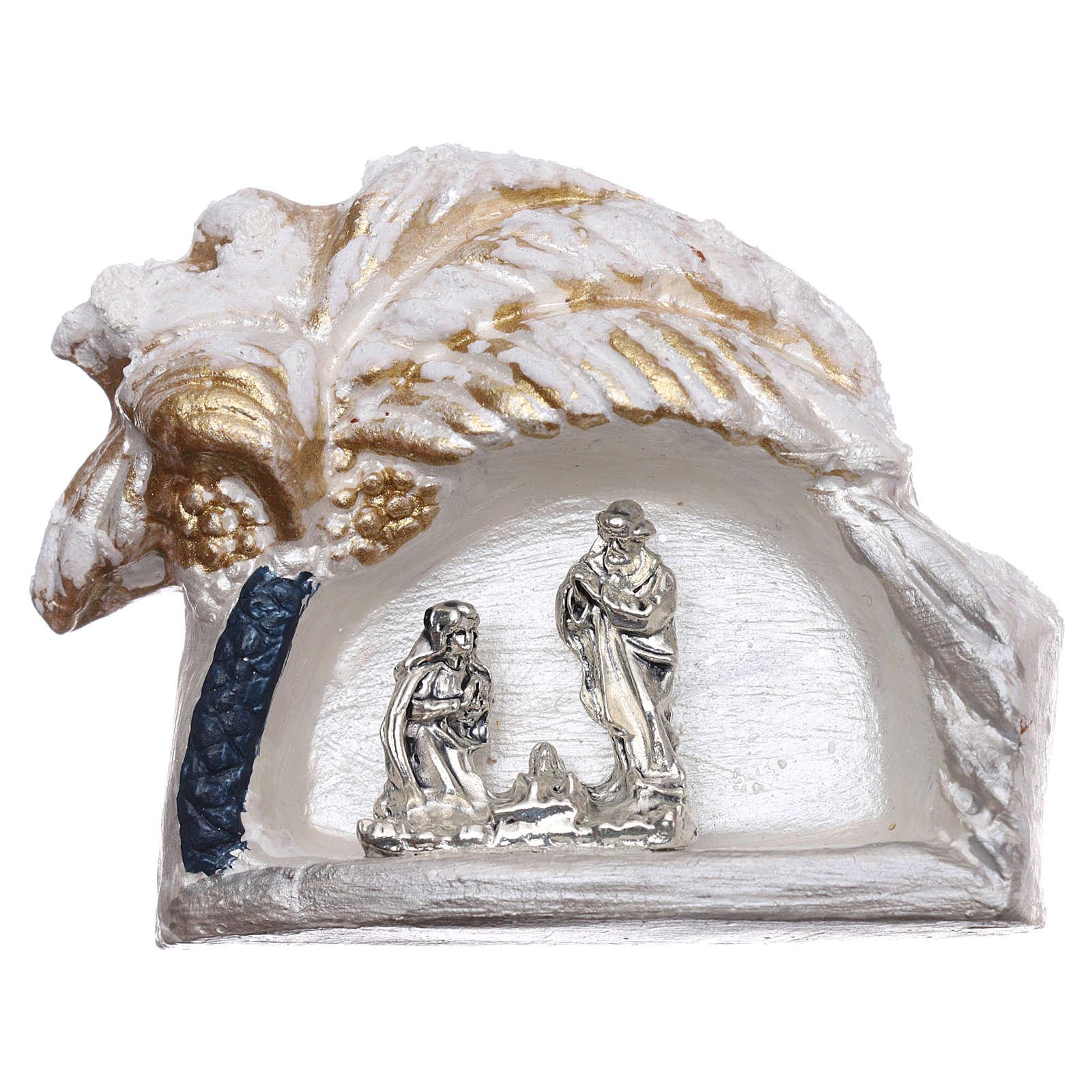 Calamita con palma dorata e Natività in terracotta Deruta 3