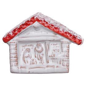 Ímanes de Santos, Nossa Senhora e Papas: Íman Deruta terracota brilhante vermelha e branca casinha e Natividade