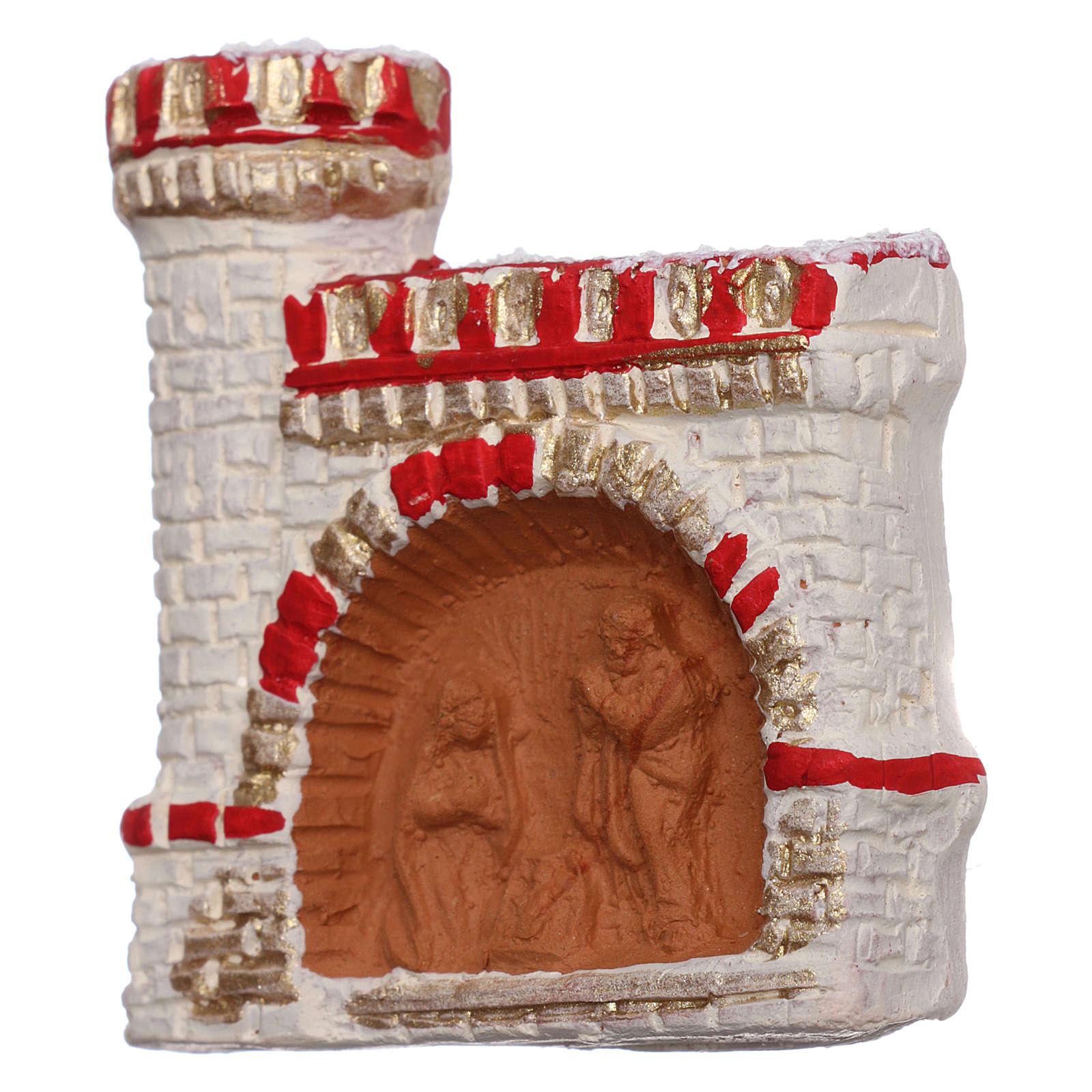 Imán terracota Deruta castillo rojo y oro Natividad 3