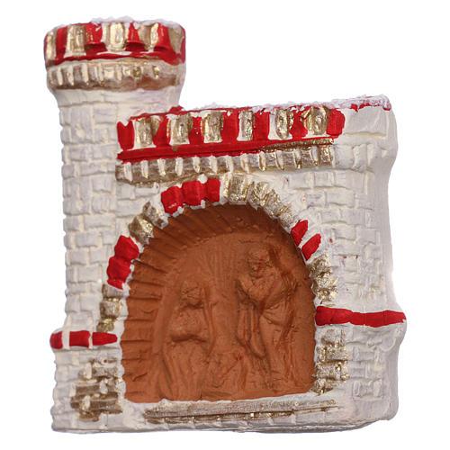 Imán terracota Deruta castillo rojo y oro Natividad 2