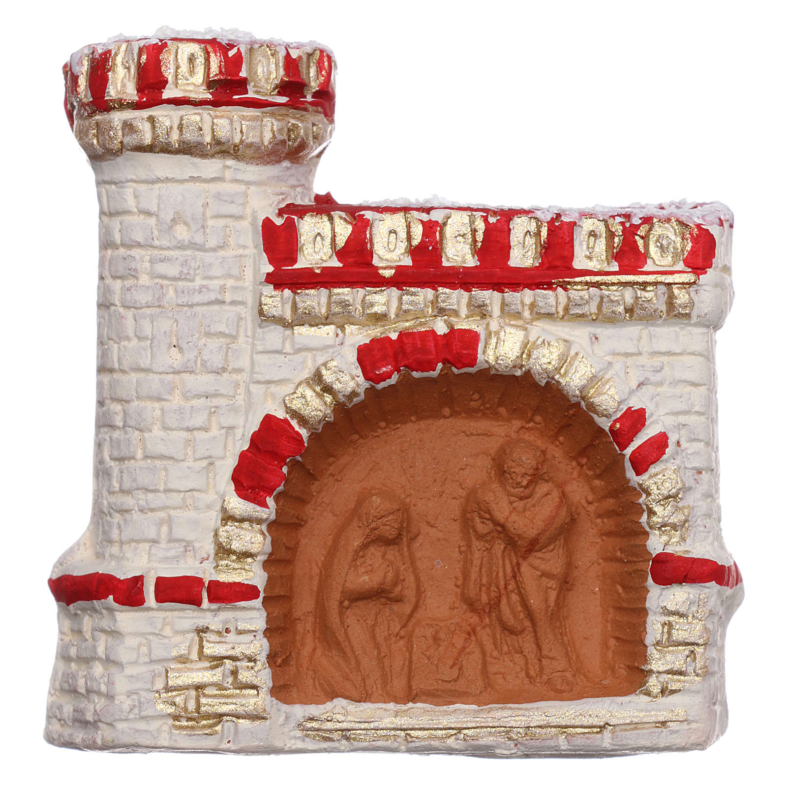 Aimant terre cuite Deruta château rouge et or Nativité 3