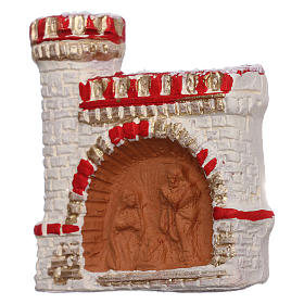 Aimant terre cuite Deruta château rouge et or Nativité s2