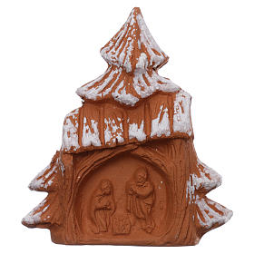Religious Magnets: Magnet snowy Christmas tree with Nativity Scene in Deruta terracotta