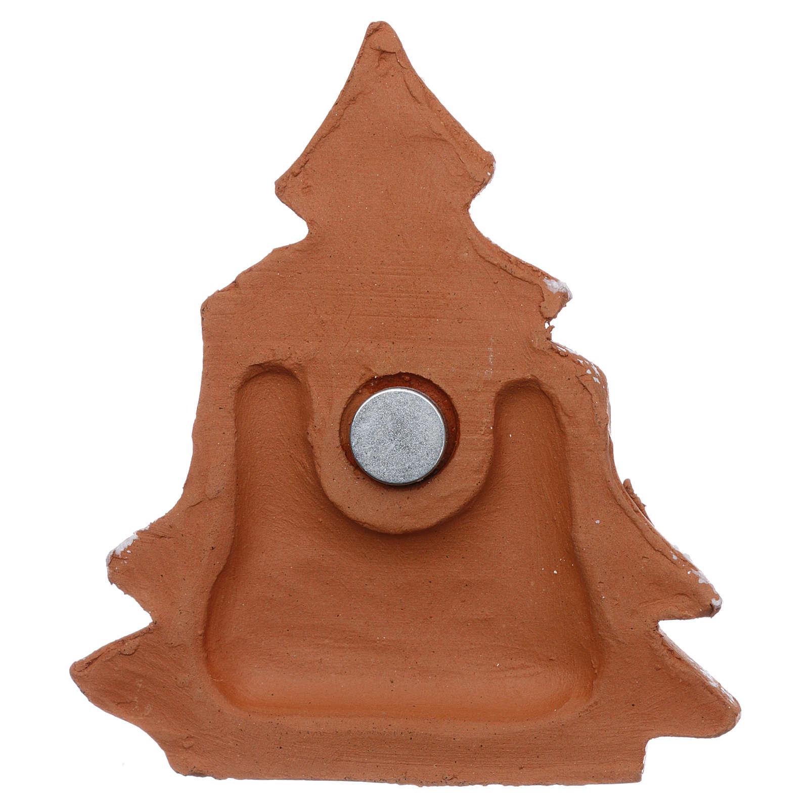 Imán en forma de árbol de navidad con Natividad terracota Deruta 3