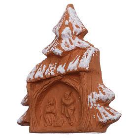 Imán en forma de árbol de navidad con Natividad terracota Deruta s2
