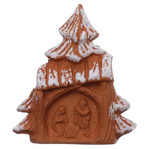 Imán en forma de árbol de navidad con Natividad terracota Deruta 1