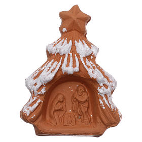 Imán Árbol de navidad nevado y escena Natividad terracota Deruta s1