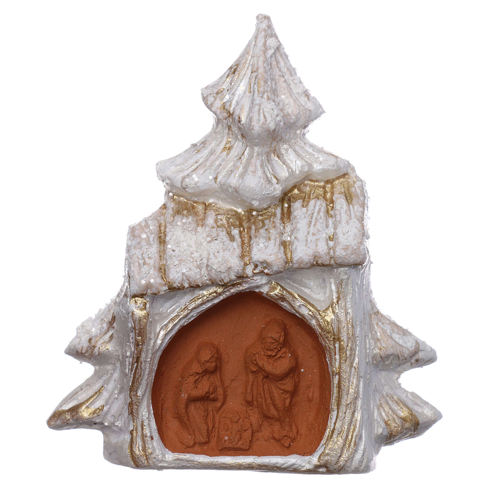Aimant sapin de Noël blanc et or avec Nativité terre cuite Deruta 3