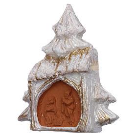 Aimant sapin de Noël blanc et or avec Nativité terre cuite Deruta s2