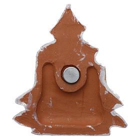 Aimant sapin de Noël blanc et or avec Nativité terre cuite Deruta s3