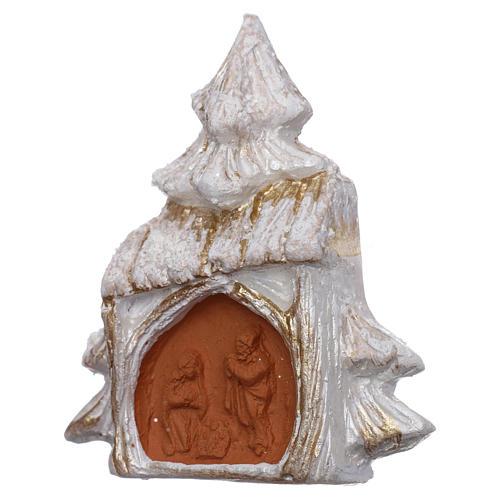 Aimant sapin de Noël blanc et or avec Nativité terre cuite Deruta 2