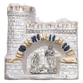Magnete Natività nel castello bianco in terracotta Deruta s1