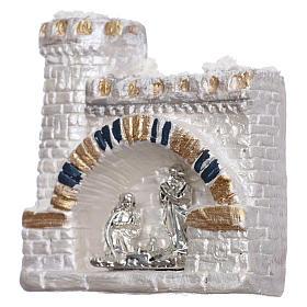 Magnete Natività nel castello bianco in terracotta Deruta s2