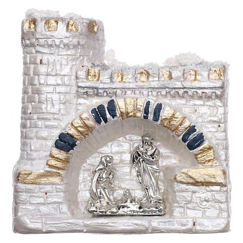 Magnete Natività nel castello bianco in terracotta Deruta 1
