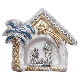 Imanes de los Santos, Virgen y Papa: Imán cabaña blanca y oro con palma y Natividad terracota Deruta